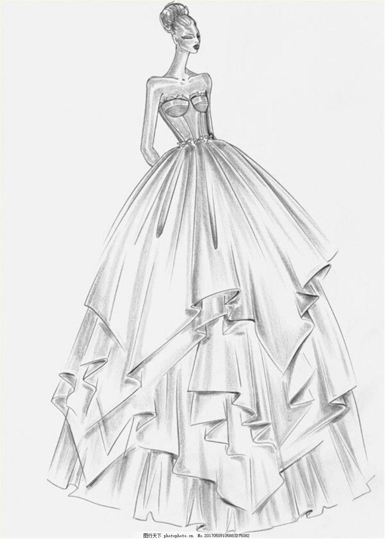 设计图库 现代科技 服装设计  时尚挺胸礼服设计图 服装设计 时尚女装