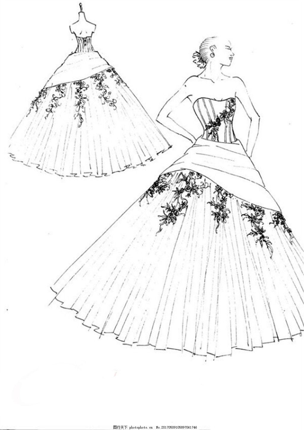设计图库 现代科技 服装设计  条纹花纹抹胸礼服设计图 服装设计 时尚