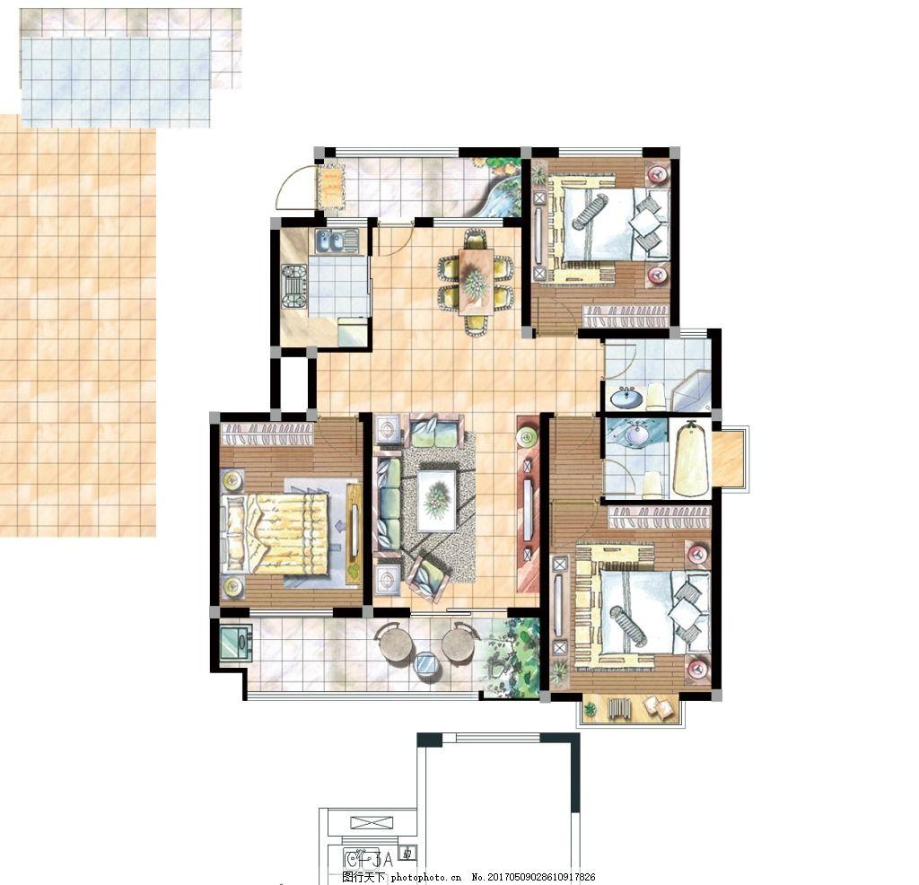手绘室内家装平面户型图 室内户型图 室内设计 家装平面图 手绘平面图