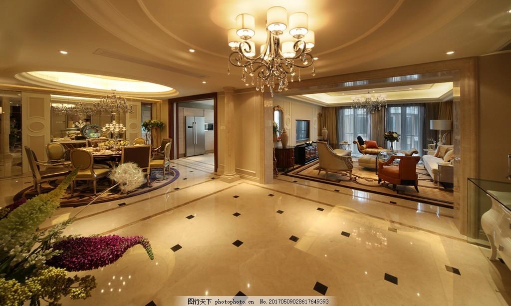 豪华客厅吊顶大灯设计图