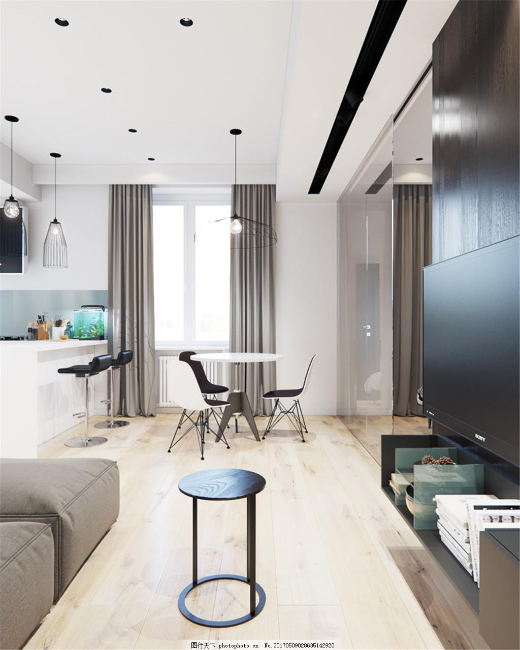 现代单身公寓简装效果图 室内设计 家装效果图 现代装修效果图 时尚