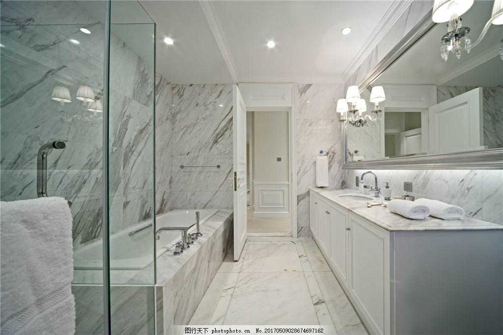 简约卫生间浴缸洗手台设计图