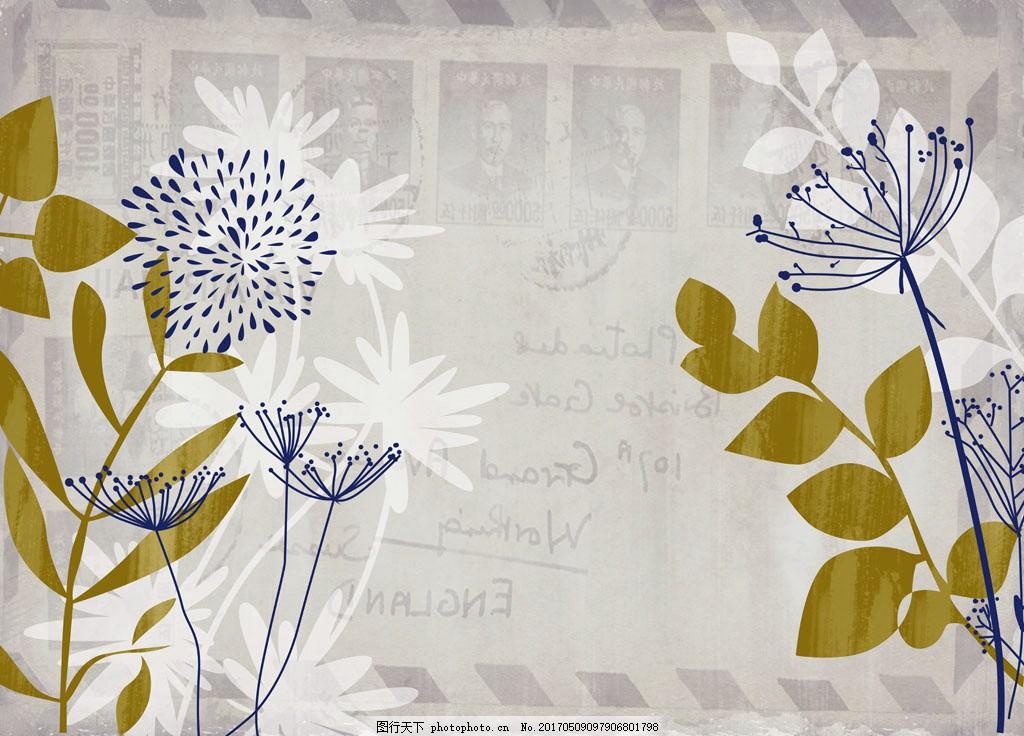 设计图库 环境设计 背景墙  手绘植物花朵背景墙 植物花朵 绿叶 花卉