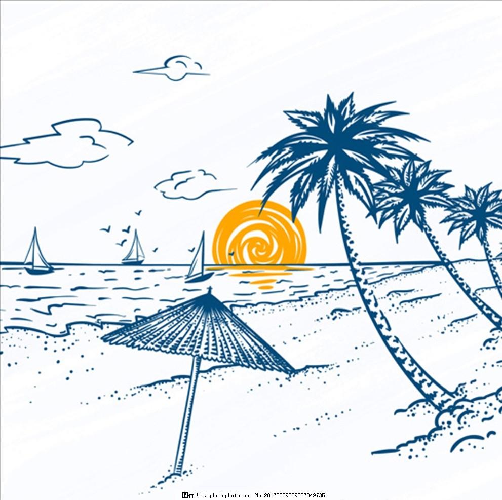 手绘棕榈树帆船海滩风景