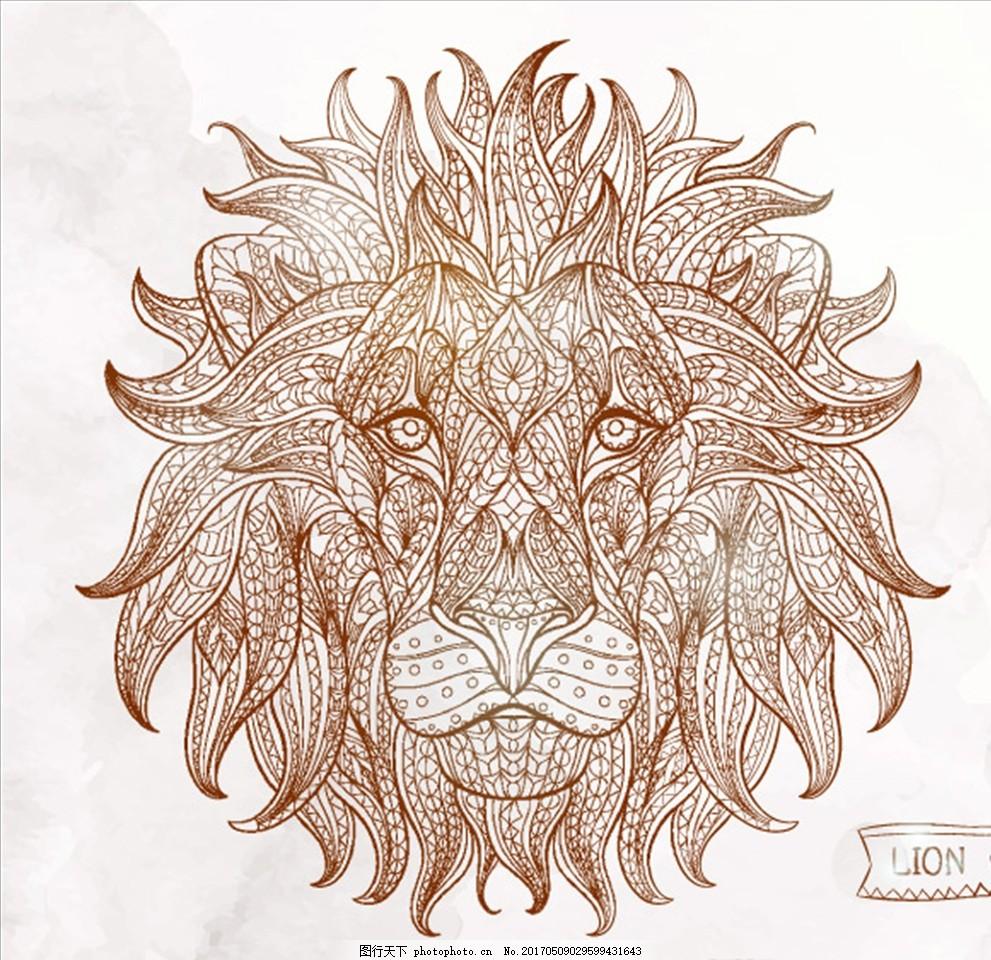 线条狮子 手绘线条狮子 动物 矢量图 元素 大气 花纹边框 广告设计