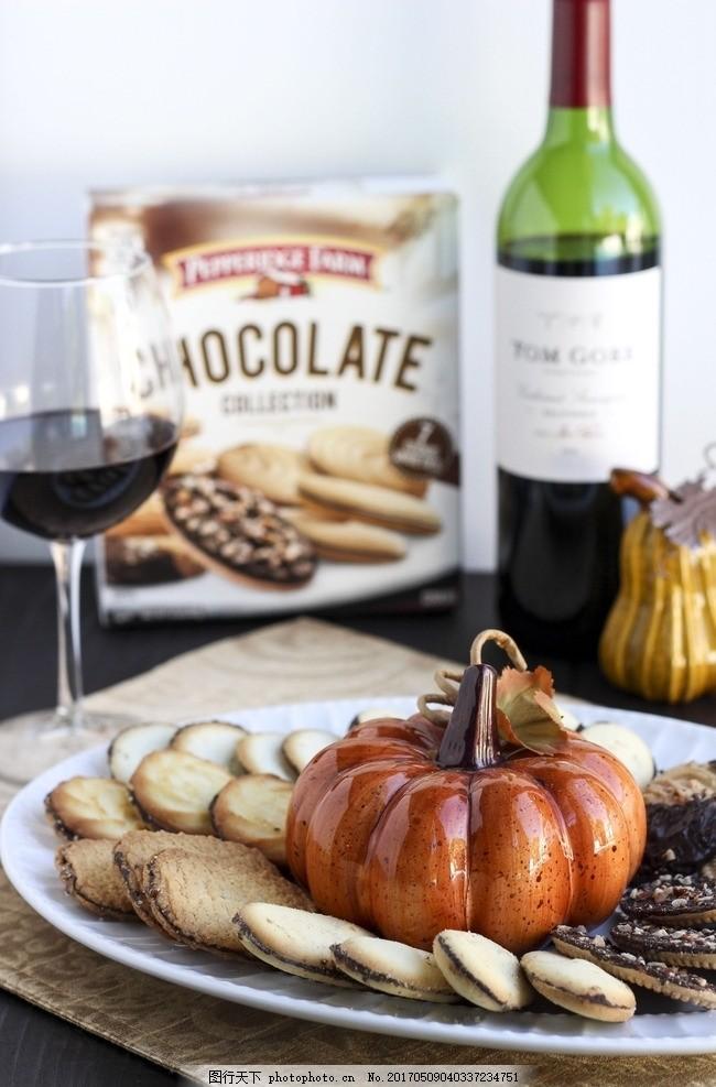 巧克力饼干 南瓜 曲奇 红酒 下午茶 点心 美食 摄影 西餐美食