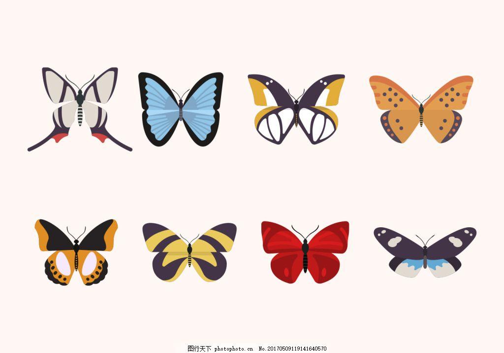 蝴蝶图标矢量素材 手绘蝴蝶 唯美 昆虫 手绘昆虫 蝴蝶图案 矢量蝴蝶