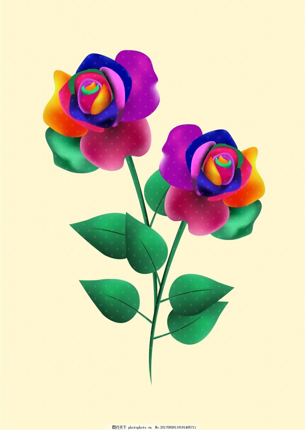 矢量手绘玫瑰花素材