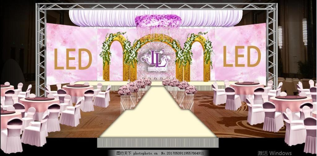 粉色婚礼效果图 吊顶 纱幔 罗马柱图片