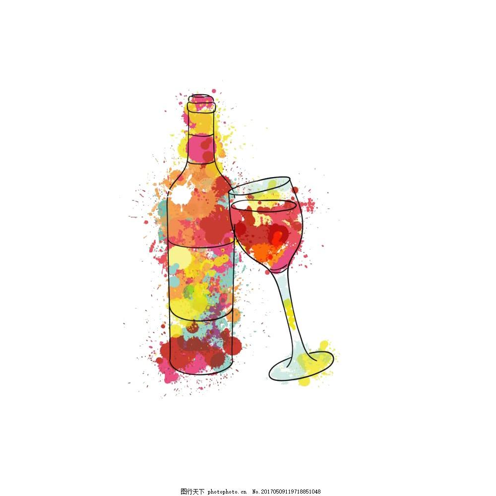 唯美艺术创意彩色手绘酒杯酒瓶