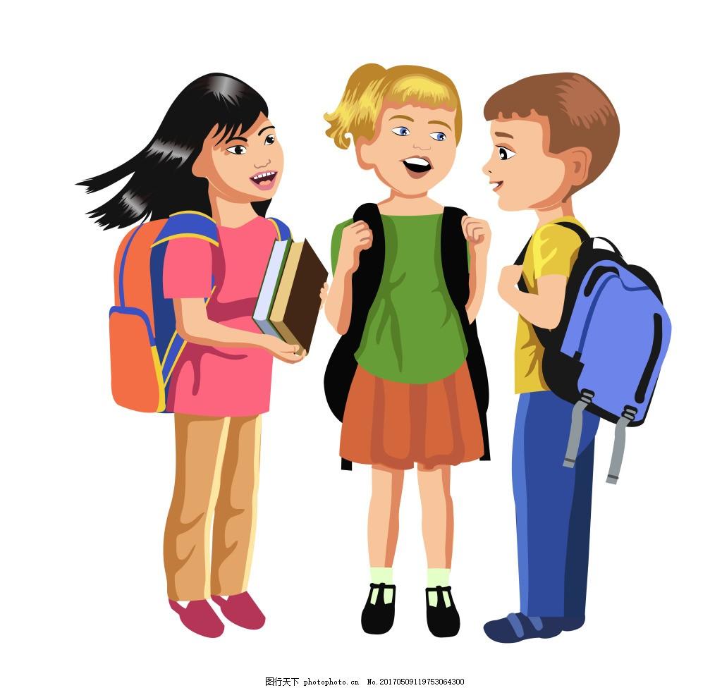 卡卡通儿童人物图片下载 卡通儿童与小学生人物设计矢量素材 矢量图