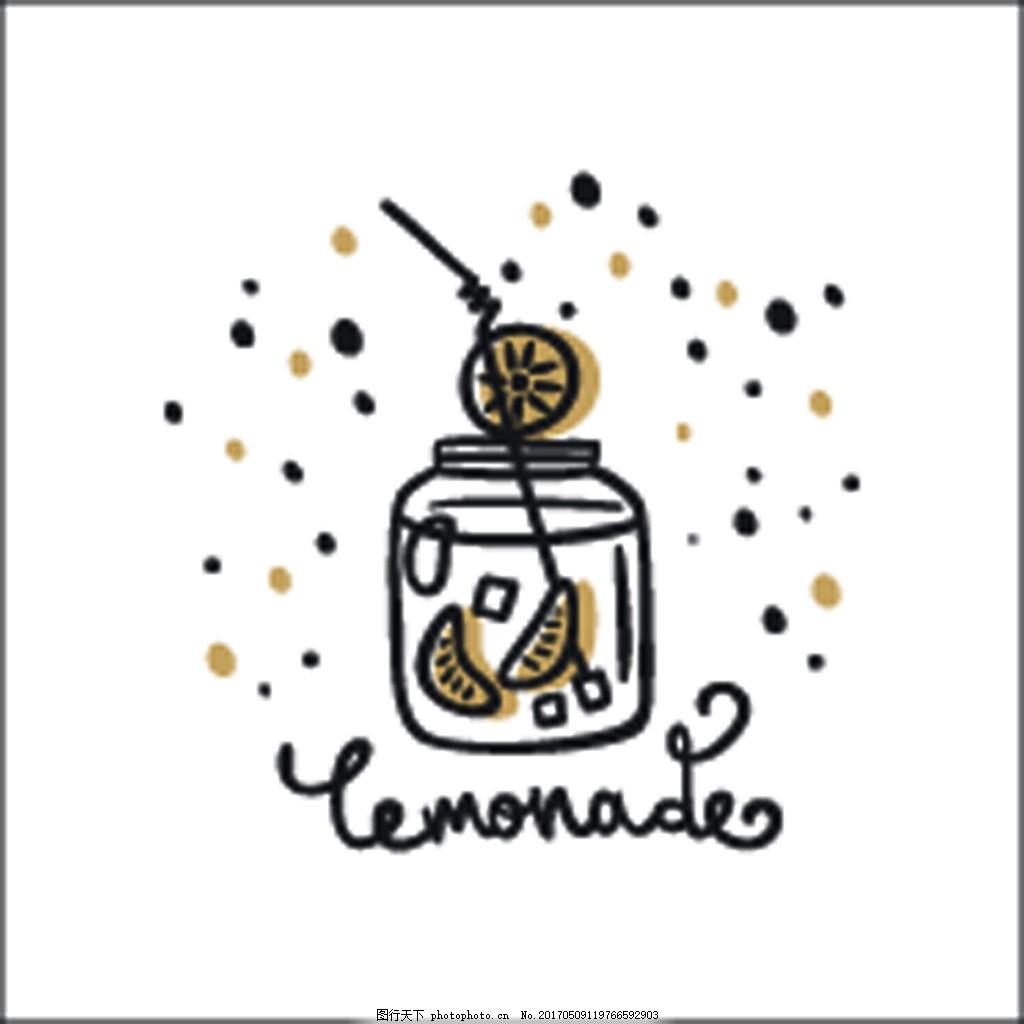 柠檬水黑白卡通童话动物线条矢量素材