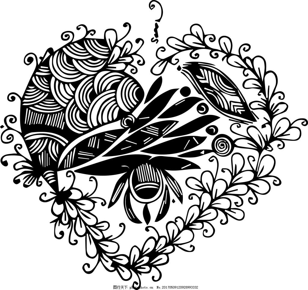装饰画 黑白 线条 花纹 卷草图片