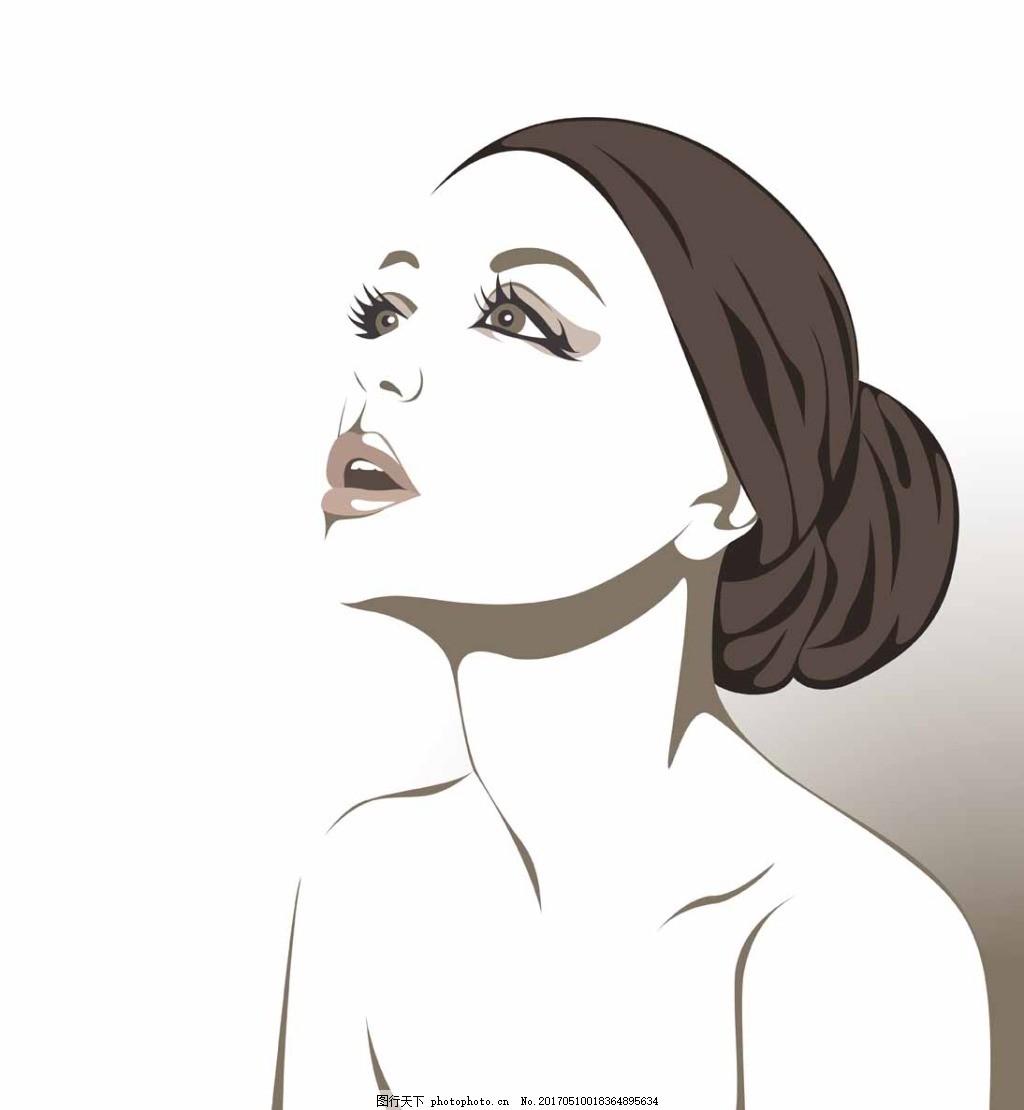 手绘女人头像 人物 性感