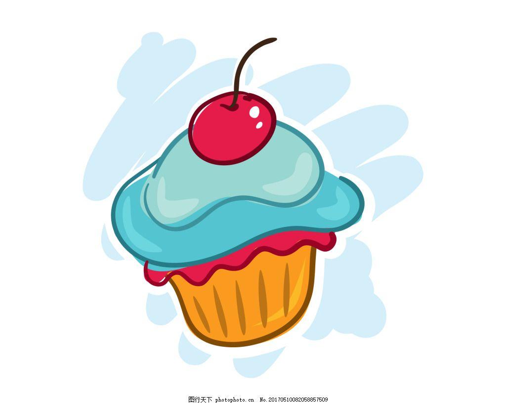 手绘卡通蛋糕 甜品 水果 樱桃