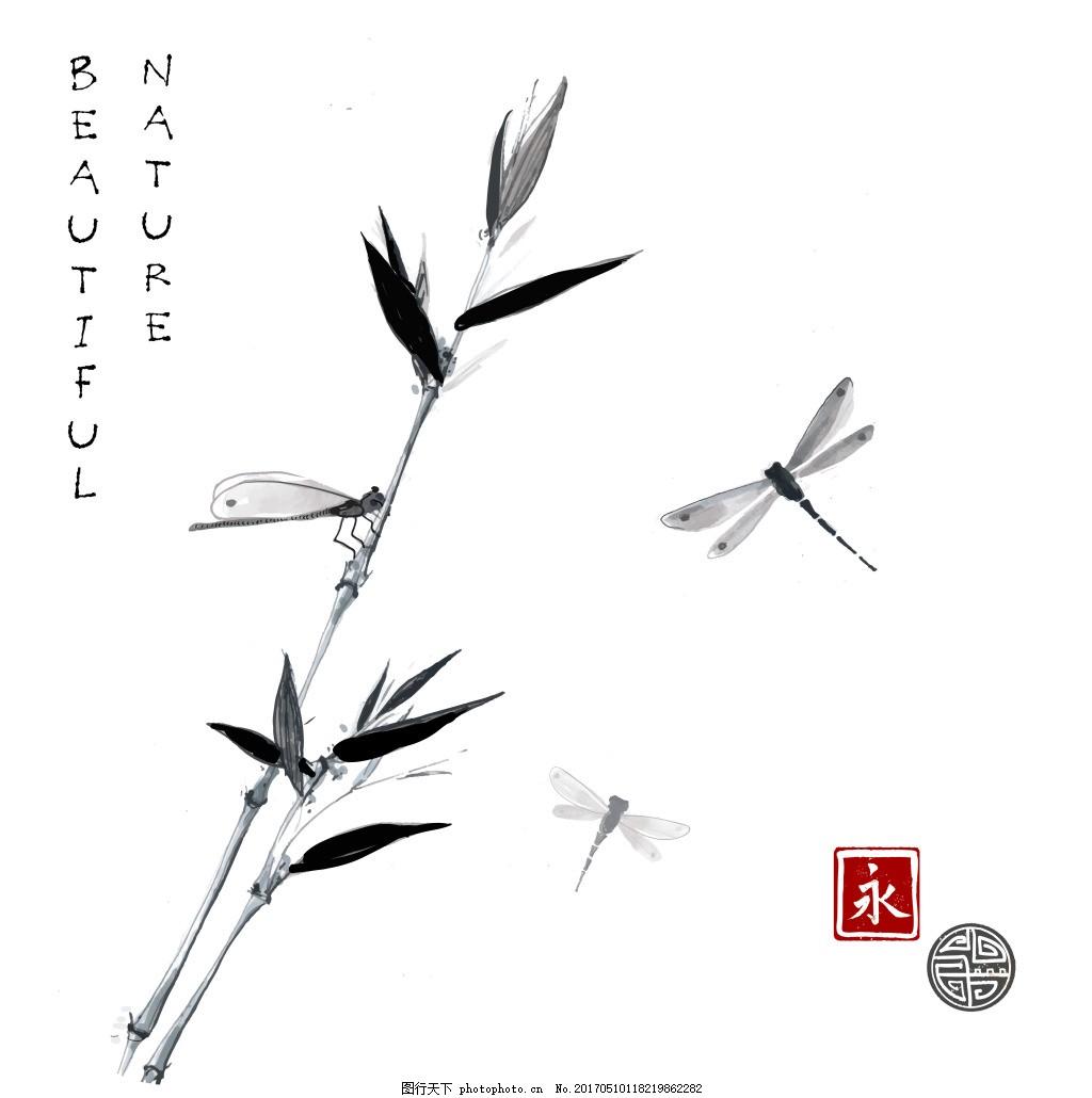 淡雅中国风书签图片下载 中国风 水墨 水墨画 竹子 印章 中国风素材