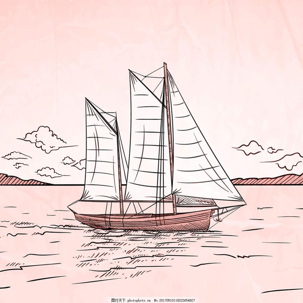 手绘素描风格船背景