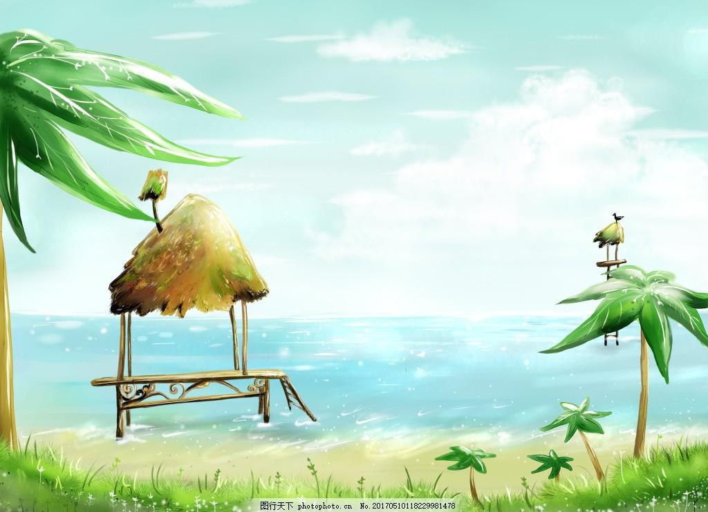 夏季清新手绘背景
