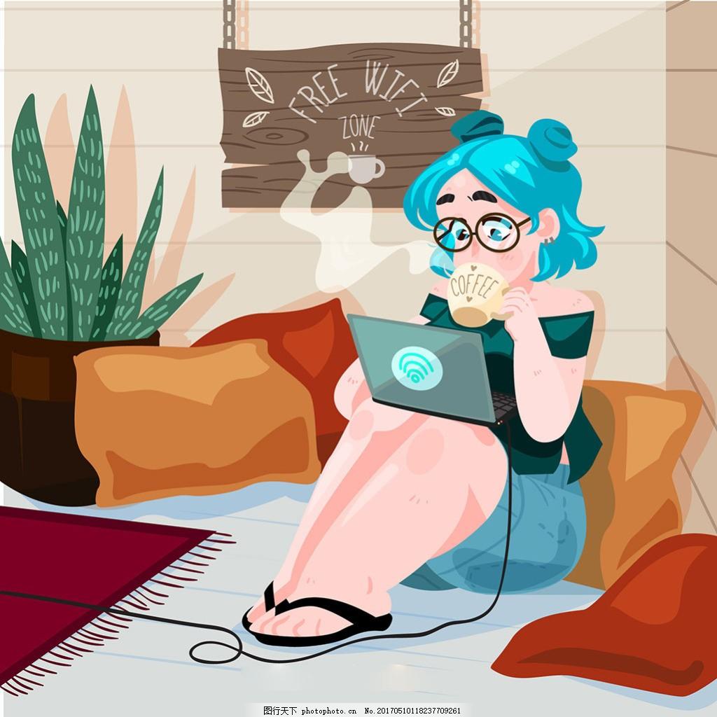 WiFi图标女孩使用笔记本电脑插图背景