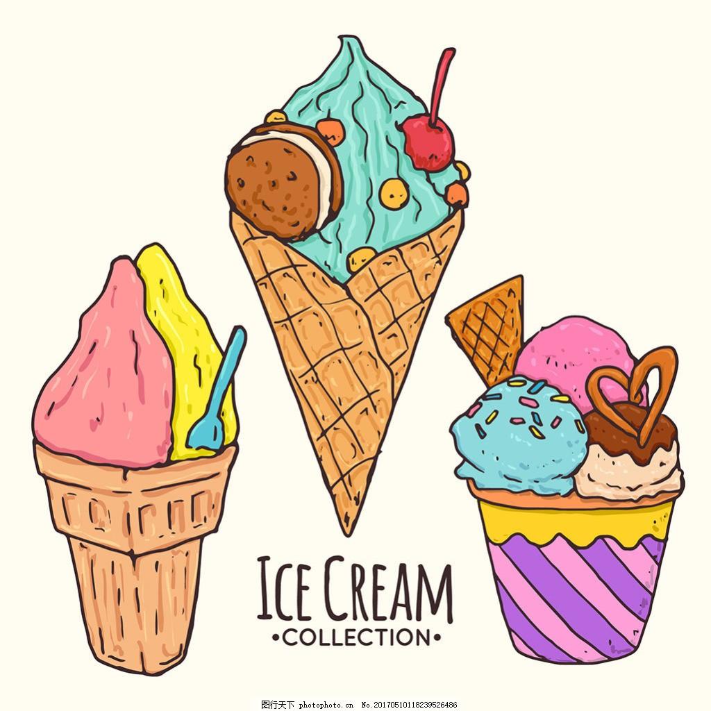 手绘风格夏季冰淇淋插图矢量素材
