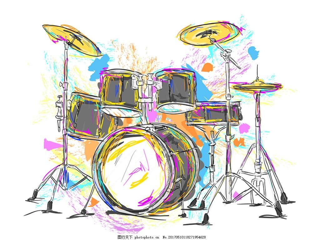 手绘水彩风格音乐架子鼓背景