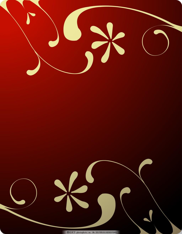 白色花纹红底背景