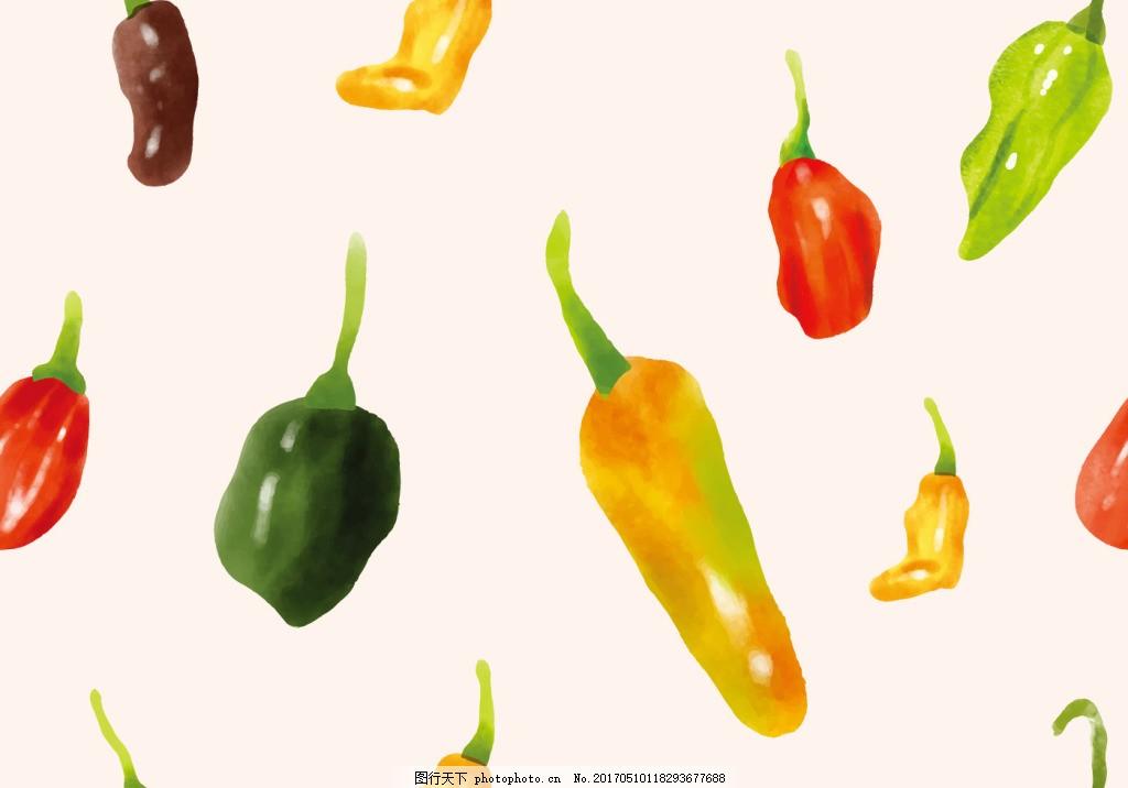 水彩辣椒背景素材 手绘辣椒 辣椒素材 矢量辣椒 蔬菜 手绘蔬菜