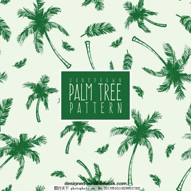 绿棕榈手绘图 背景 图案 树叶夏 自然 树叶 热带 植物 装饰