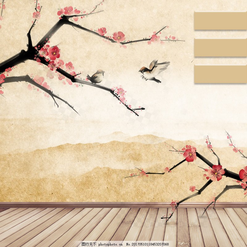 水墨中国淡雅主图背景 手绘 梅花 古典