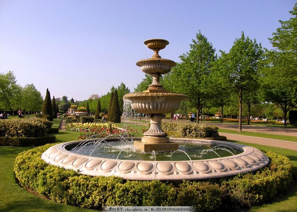 欧式喷泉 奢华 地产广告 公园 欧式建筑园林 摄影