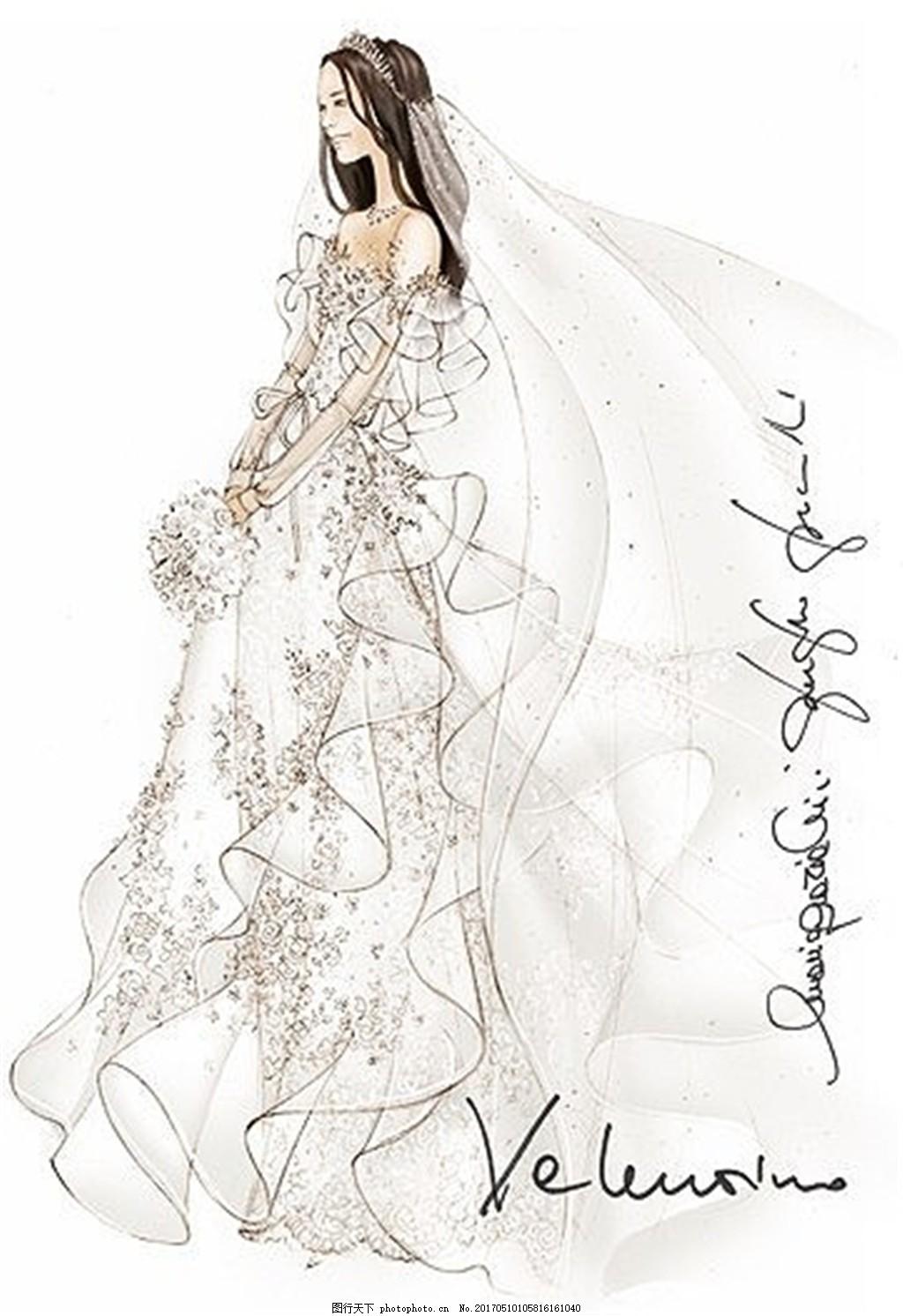 唯美花纹婚纱设计图