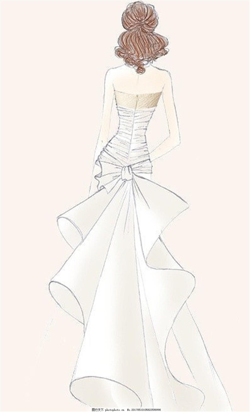 白色露背紧身礼服设计图 服装设计 时尚女装 职业女装 女装设计效果图