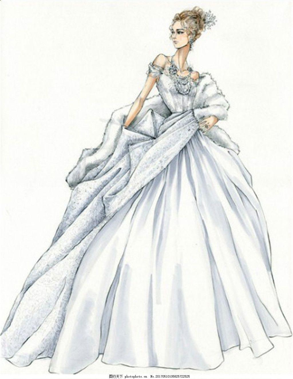 银灰色婚纱设计图 时尚女装 职业女装 女装设计效果图 短裙 服装图片