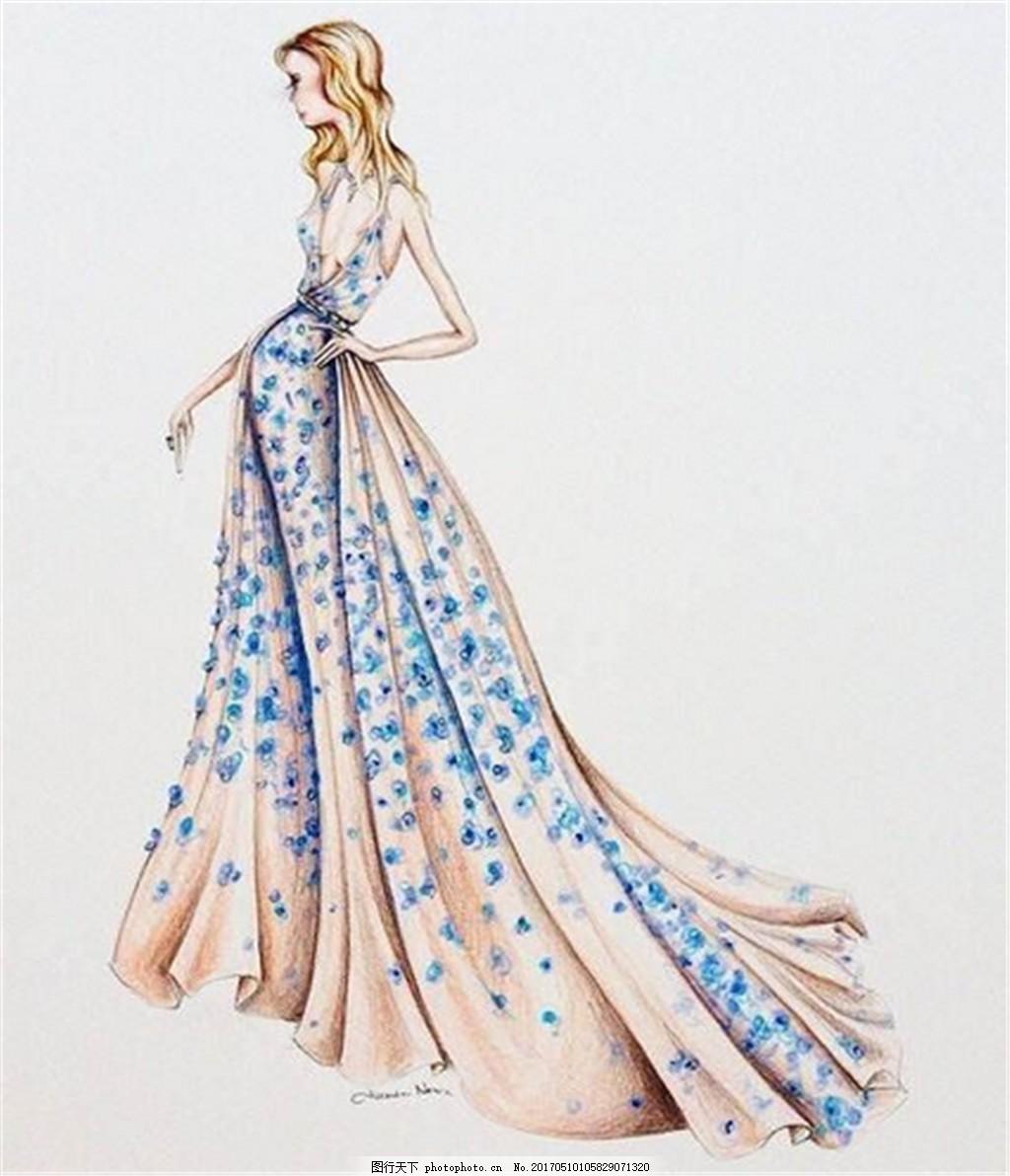 蓝色碎花礼服设计图 时尚女装 职业女装 女装设计效果图 短裙 服装