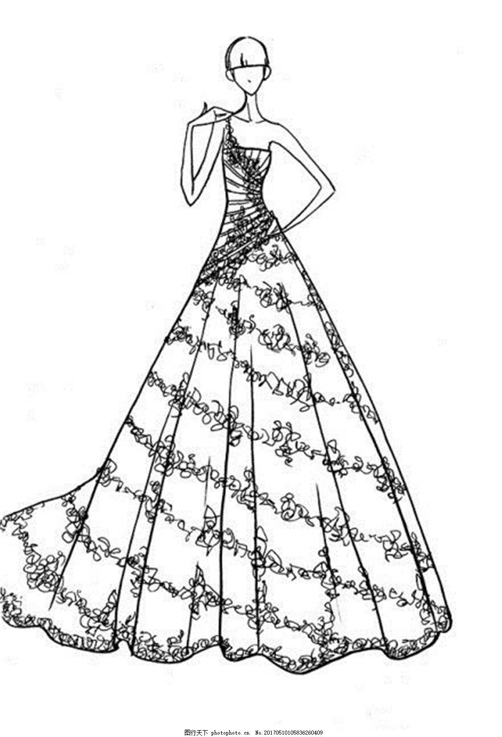 单肩花纹礼服设计图