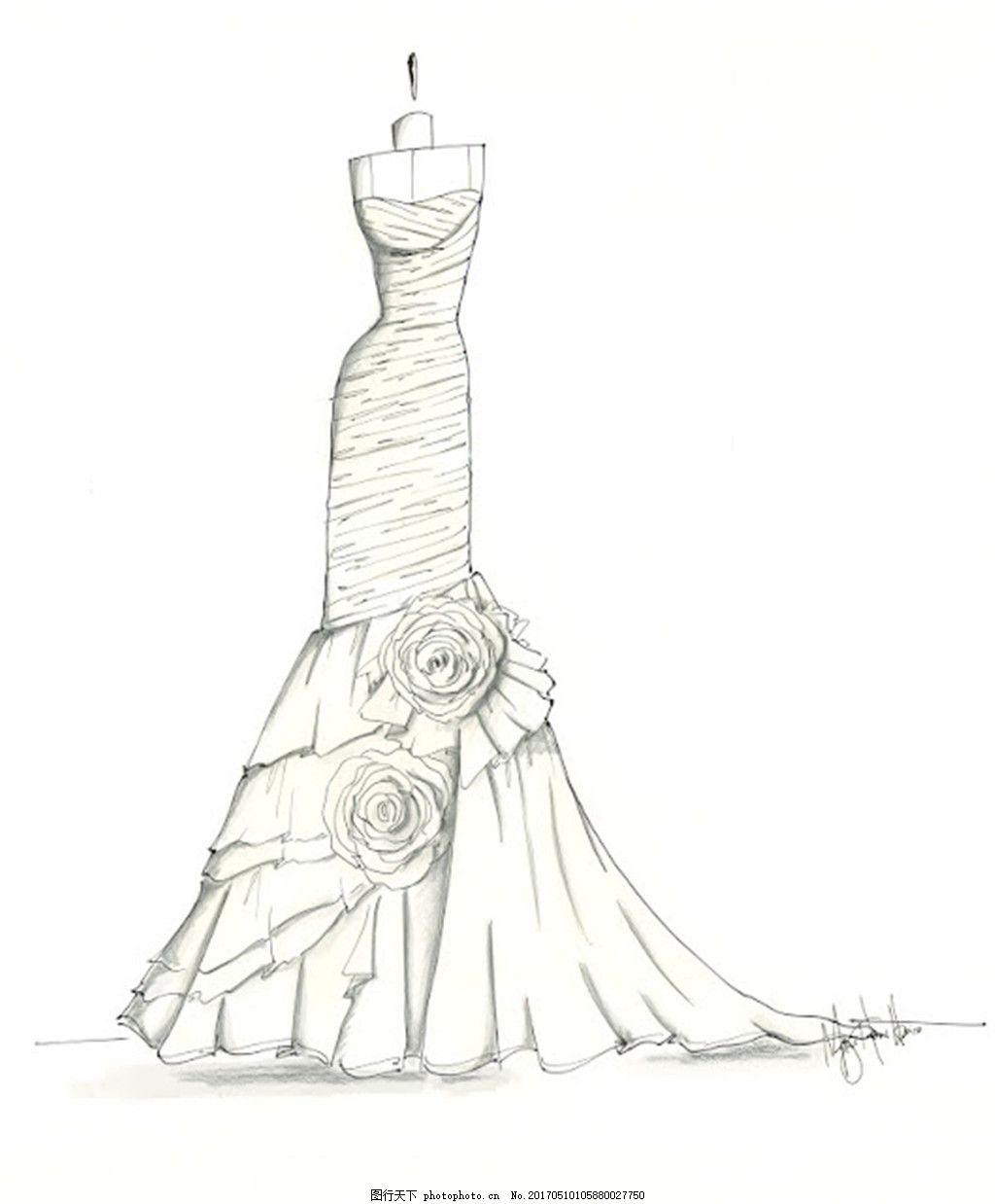 设计图库 现代科技 服装设计  花朵抹胸礼服设计图 服装设计 时尚女装