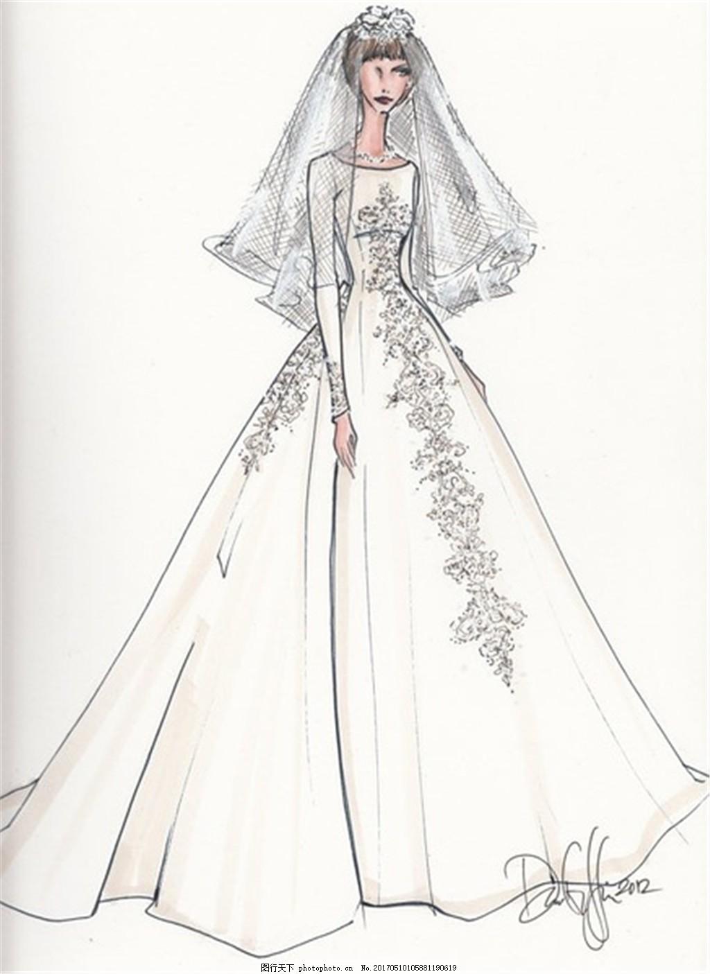 花纹婚纱长裙手绘图