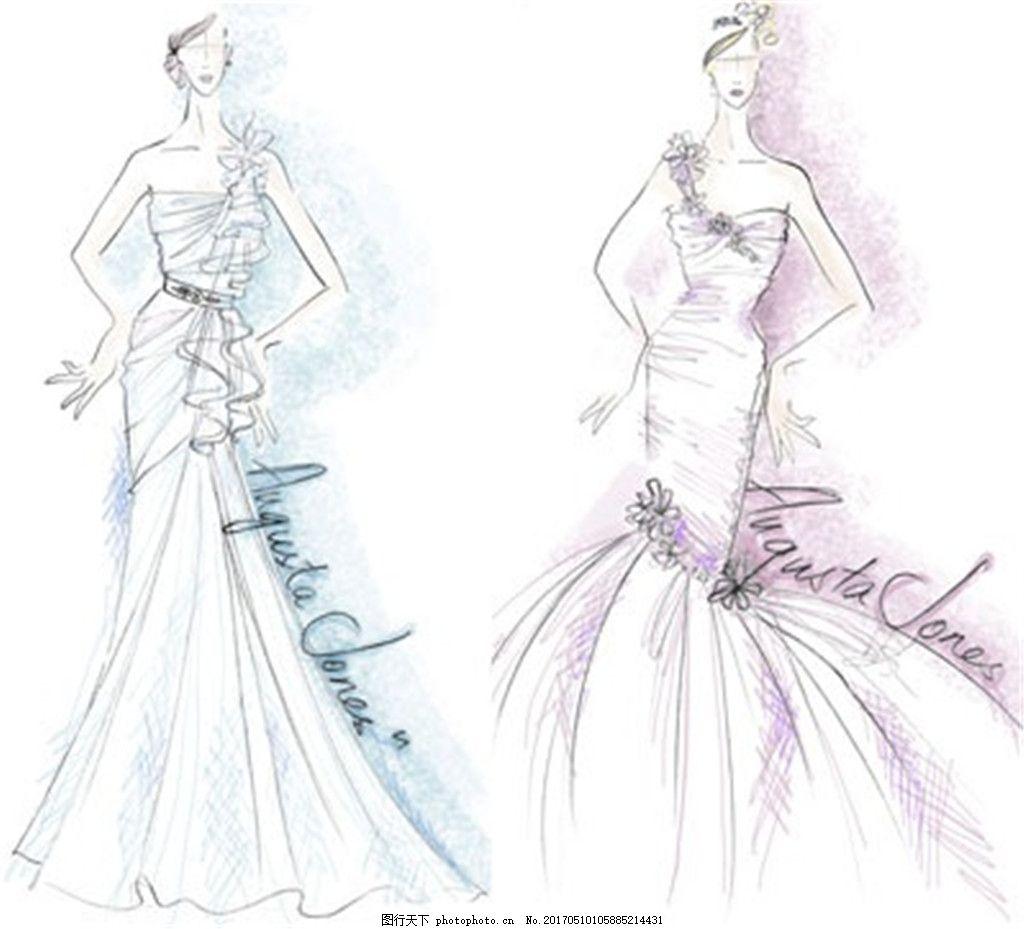2款单肩礼服设计图 服装设计 时尚女装 职业女装 女装设计效果图 jpg