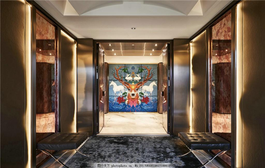 现代别墅电梯间装修效果图 室内设计 家装效果图 欧式装修效果图 时尚