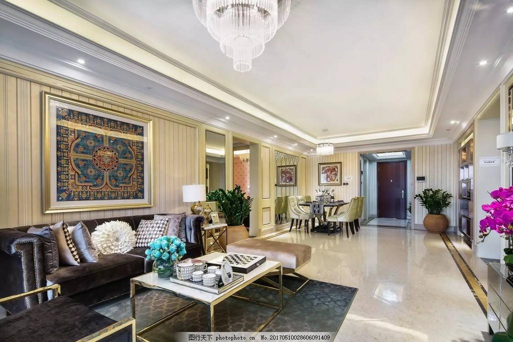 现代欧式客厅装修效果图 房屋装修设计效果图图片 室内装修 设计素材