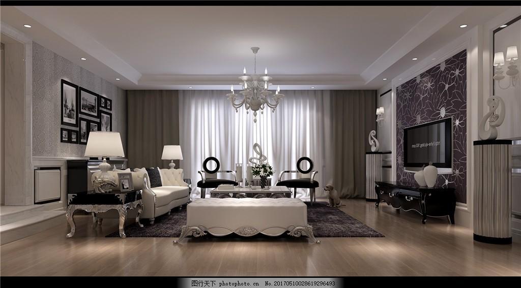 欧式别墅客厅简装效果图