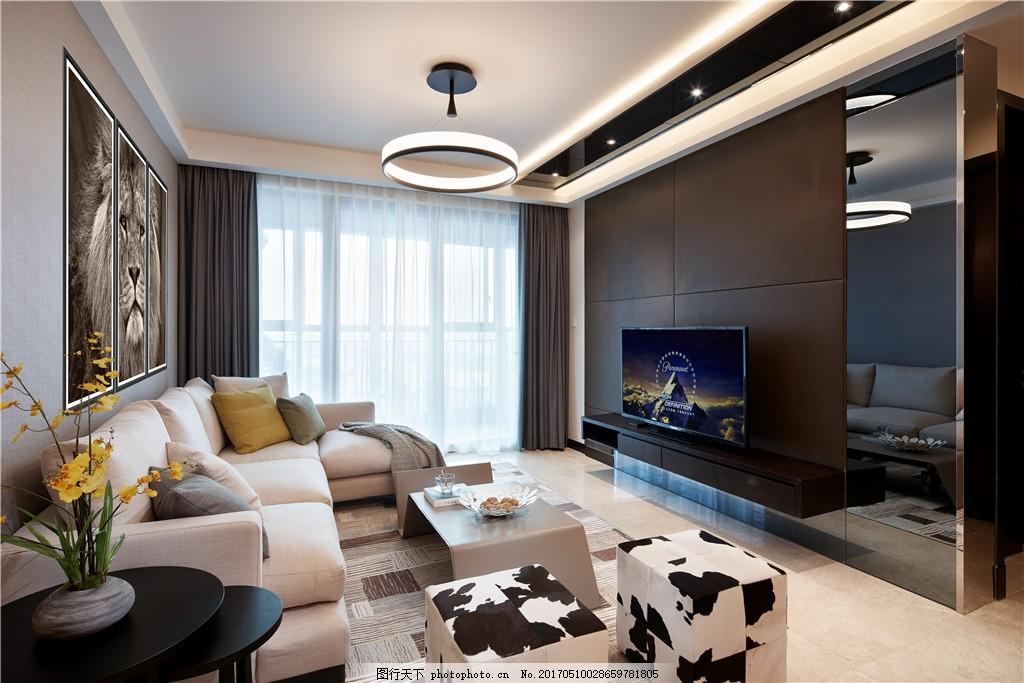 北欧客厅装修效果图 室内设计 家装效果图 北欧家装效果图 时尚