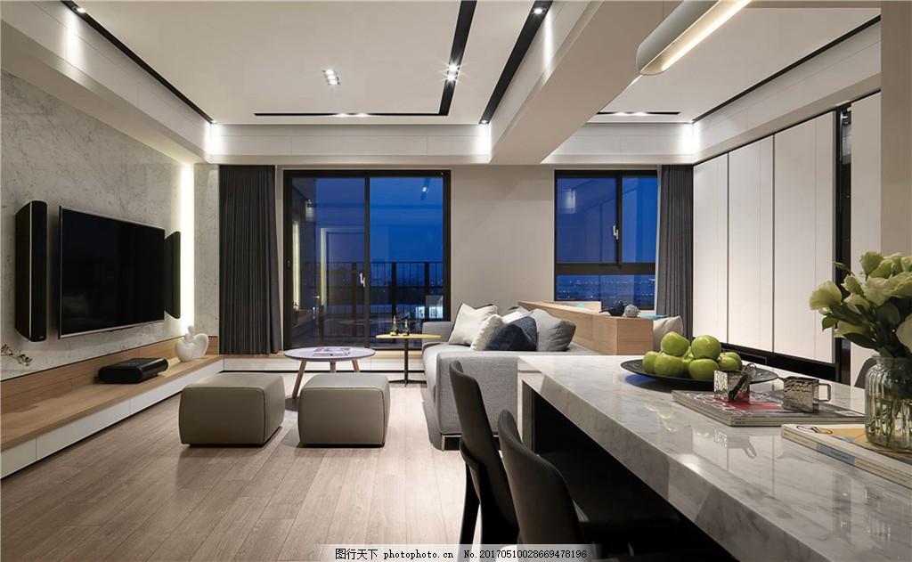 现代客厅餐厅装修效果图 室内设计 家装效果图 欧式装修效果图 时尚