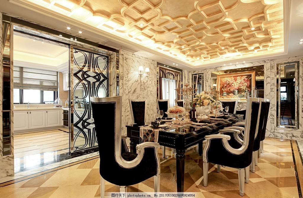 豪华餐厅吊顶餐桌设计图 家居 家居生活 室内设计 装修 室内 家具