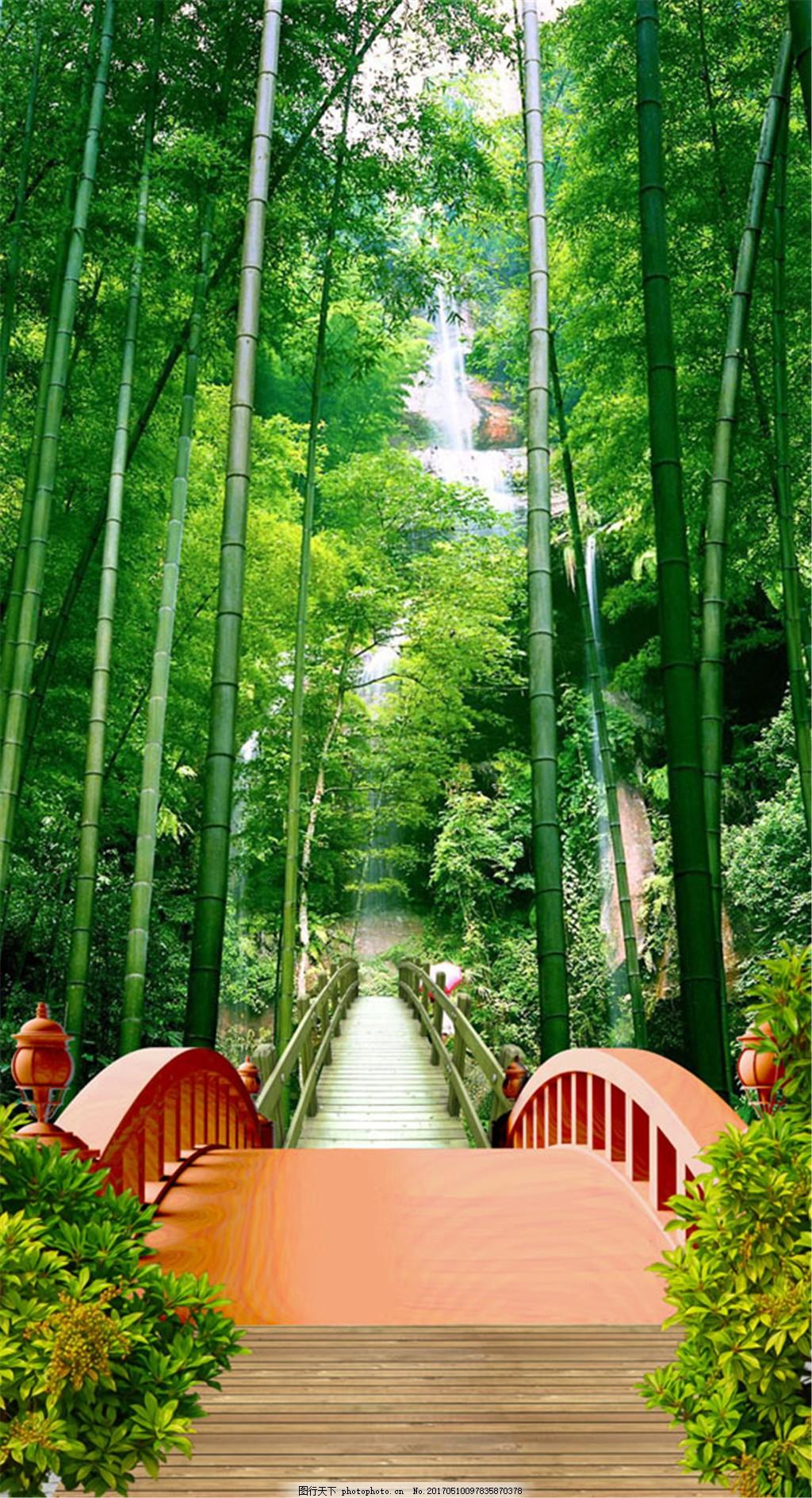 竹林小桥风景图片