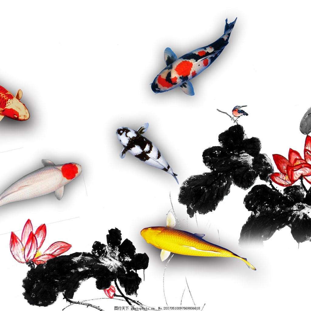 水墨画锦鲤图片