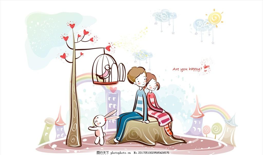小清新的爱情 卡通 唯美 男孩 女孩 爱心 初恋 动漫动画 动漫人物