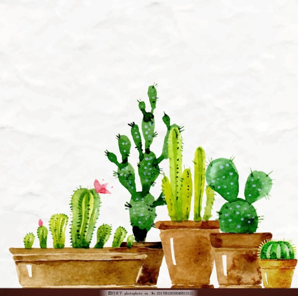 小清新海报 绿色海报 森系海报 植物海报 简洁海报 手绘 cactus 盆栽