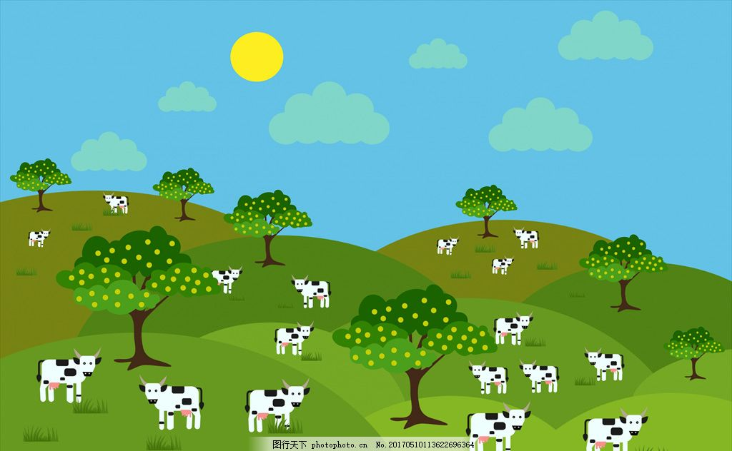 卡通背景 动物 可爱 矢量 卡通牛 草地 小树 卡通设计 设计 广告设计
