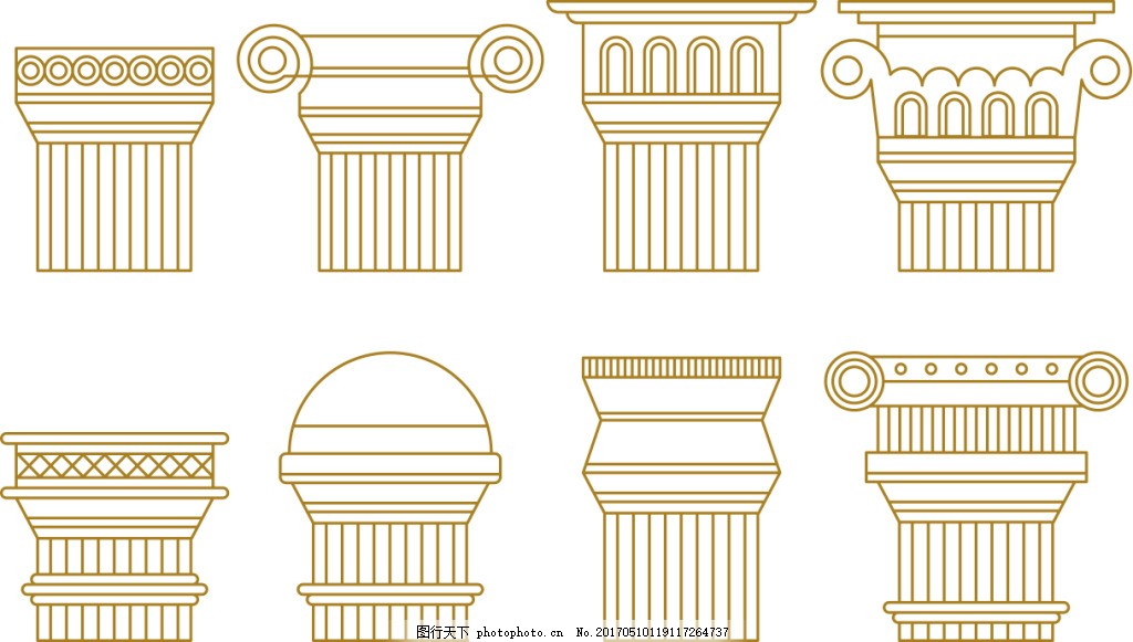 手绘线性罗马柱 柱子 矢量柱子 罗马柱子 矢量罗马柱 矢量素材